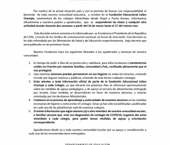 COMUNICADO OFICIAL SUSPENSION DE CLASES COVID 19